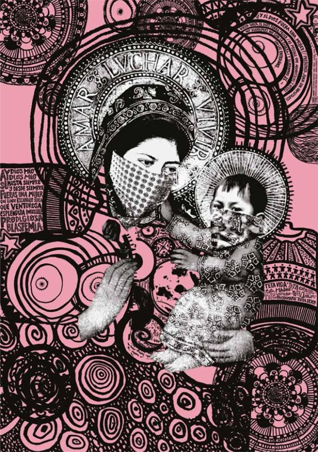 Amar Luchar Vivir, Onaire. Colectivo gráfico, sérigraphie 2 couleurs, 70x100 cm, 2009. © Onaire