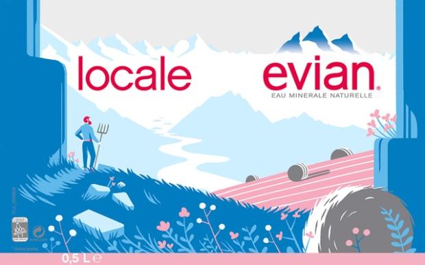 Etiquette pour Evian par Tom Haugomat