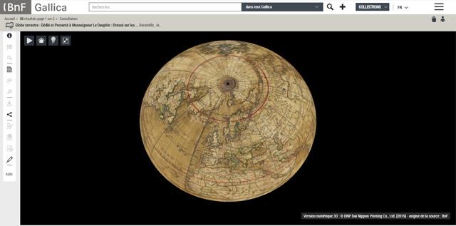 Les globes terrestres numérisés en 3D de Gallica
