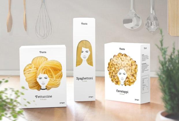Packagings de pâtes par l'agence Nikita