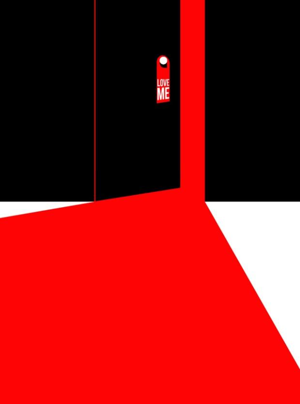 Inspirationsgraphiques-illustrations-le-Sonneur-artiste-Door-Hangers-street-art-geometrie-sonnettes-rouges-Shining-Stanley-Kubrick-affiche-Saul-Bass-01