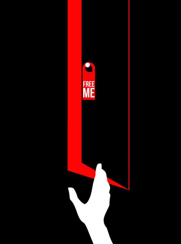 Inspirationsgraphiques-illustrations-le-Sonneur-artiste-Door-Hangers-street-art-geometrie-sonnettes-rouges-Shining-Stanley-Kubrick-affiche-Saul-Bass-03