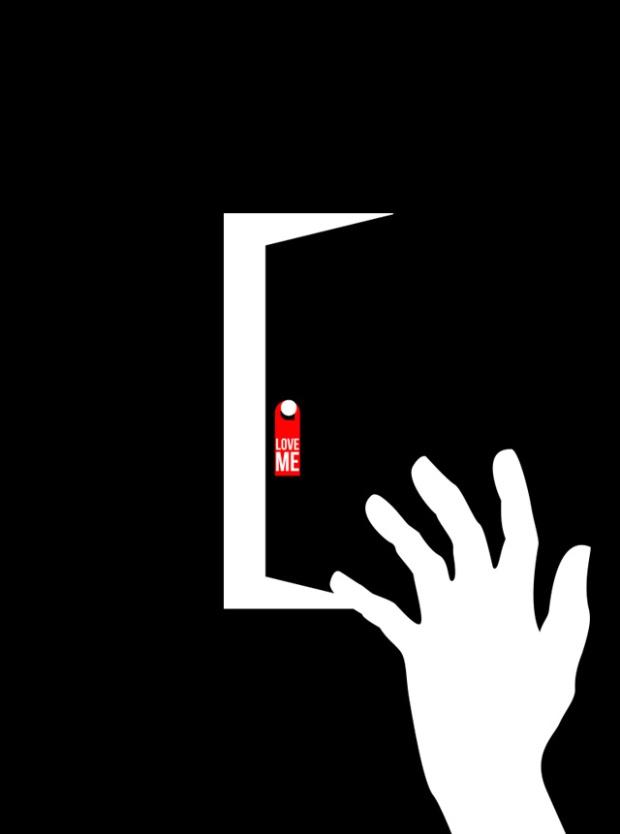 Inspirationsgraphiques-illustrations-le-Sonneur-artiste-Door-Hangers-street-art-geometrie-sonnettes-rouges-Shining-Stanley-Kubrick-affiche-Saul-Bass-04