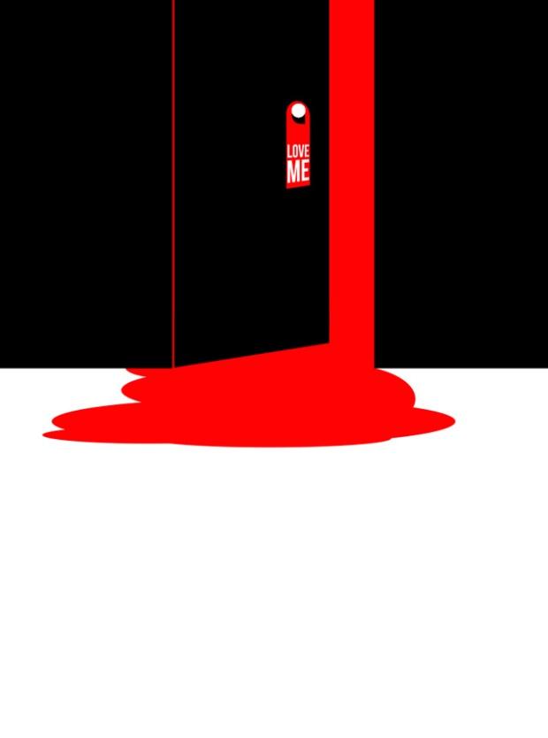 Inspirationsgraphiques-illustrations-le-Sonneur-artiste-Door-Hangers-street-art-geometrie-sonnettes-rouges-Shining-Stanley-Kubrick-affiche-Saul-Bass-06