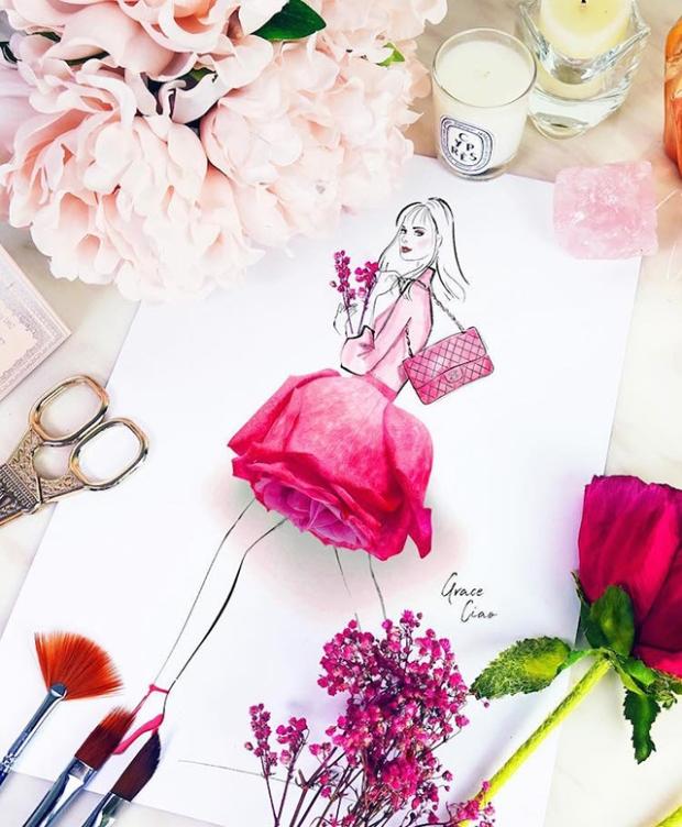 Cette Artiste Mêle Dessin Aquarelle Et Véritables Fleurs